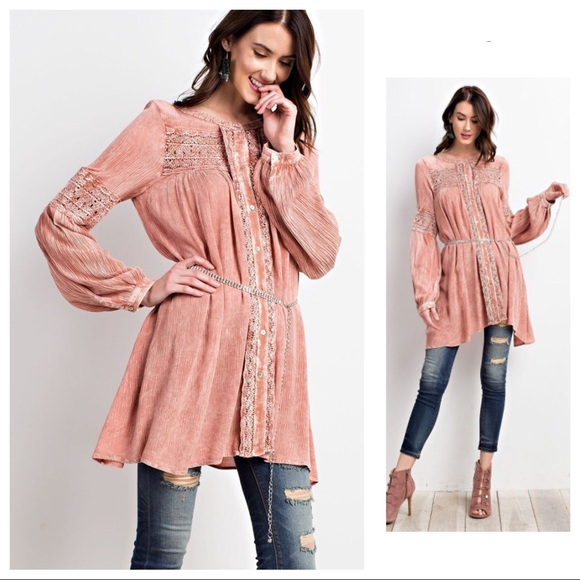 186b102094 MANDIE-Mineral Washed Peasant Tunic Top